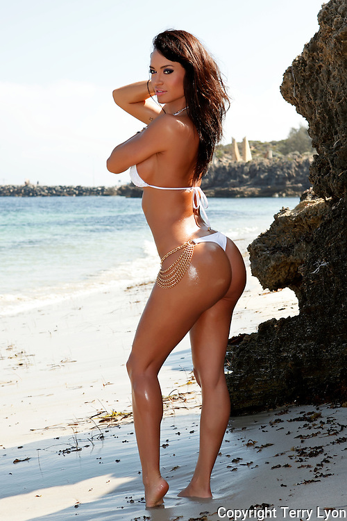 Franceska Jaimes movie star US Penthouse Pet beach and river shoot Terry Lyon