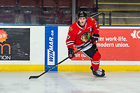 KELOWNA, BC - MARCH 03: Jared Freadrich #27 of the Portland Winterhawks warms up against the Kelowna Rockets  at Prospera Place on March 3, 2019 in Kelowna, Canada. (Photo by Marissa Baecker/Getty Images)