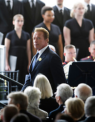 Former Governor of U.S. California Arnold Schwarzenegger attends the funeral of former U.S. First Lady Nancy Reagan at the Ronald Reagan Presidential Library in Simi Valley, California, March 11, 2016. Nancy Reagan's funeral was held here on Friday morning. She died of heart failure last Sunday at the age of 94. EXPA Pictures © 2016, PhotoCredit: EXPA/ Photoshot/ Yang Lei<br /> <br /> *****ATTENTION - for AUT, SLO, CRO, SRB, BIH, MAZ, SUI only*****