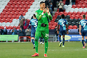 Rian McLean of Doncaster Rovers claps towards the Doncaster Rovers fans at full time during the EFL Sky Bet League 1 match between Doncaster Rovers and Wycombe Wanderers at the Keepmoat Stadium, Doncaster, England on 29 February 2020.