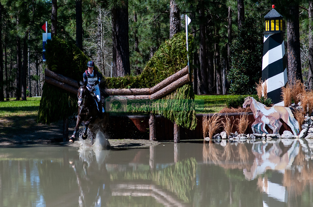 March 22, 2019 - Raeford, North Carolina, US - March 23, 2019 - Raeford, N.C., USA - ARIEL GRALD of the United States riding LEAMORE MASTER PLAN competes in the cross country CCI-4S division at the sixth annual Cloud 11-Gavilan North LLC Carolina International CCI and Horse Trial, at Carolina Horse Park. The Carolina International CCI and Horse Trial is one of North AmericaÃ•s premier eventing competitions for national and international eventing combinations, hosting International competition at the CCI2*-S through CCI4*-S levels and National levels of Training through Advanced. (Credit Image: © Timothy L. Hale/ZUMA Wire)