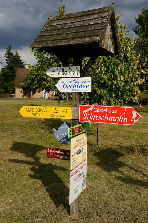 Local business in Rieth village, Germany, Oder river delta/Odra river rewilding area, Stettiner Haff, on the border between Germany and Poland