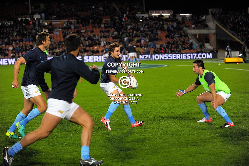 Nicolas Sanchez warms up before The Rugby Championship match between the NZ All Blacks and Argentina Pumas at FMG Stadium in Hamilton, New Zealand on Saturday, 10 September 2016. Photo: Dave Lintott / lintottphoto.co.nz