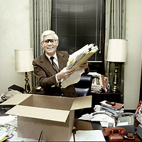 U.S. Representative John B. Anderson (R-IL) packs papers in his Washington, DC Congressional office following his 1980 failed independent presidential bid.