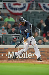 March 26, 2018 - Atlanta, GA, U.S. - ATLANTA, GA - MARCH 26: New York Yankees LF Aaron Hicks (31) during the MLB Spring Training baseball game between the New York Yankees and the Atlanta Braves on March 26, 2018 at Suntrust Field in Atlanta, Ga. (Photo by John Adams/Icon Sportswire) (Credit Image: © John Adams/Icon SMI via ZUMA Press)
