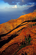Aerial image of the Na Pali Cliffs at sunset in Kauai, Hawaii, Hawaiian Islands