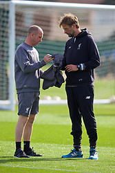 LIVERPOOL, ENGLAND - Wednesday, April 13, 2016: Liverpool's manager Jürgen Klopp and head of fitness elite development Andy O'Boyle during a training session at Melwood Training Ground ahead of the UEFA Europa League Quarter-Final 2nd Leg match against Borussia Dortmund. (Pic by David Rawcliffe/Propaganda)