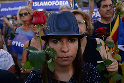 August 26, 2017 - Barcelona, Spain - Thousands of people march against terrorism after deadly van attack in Barcelona in 26th August, 2017. The Catalan capital demonstrates under the motto '' I Am not Afraid '', against the terror and in protest to the attack of the Rambla boulevard and Cambrils (Tarragona), which claimed the lives of 15 people the past day 17. The March organized by the City Council of Barcelona and the Government of Catalonia, 878 entities have acceded. (Credit Image: © Juan Carlos Lucas/NurPhoto via ZUMA Press)