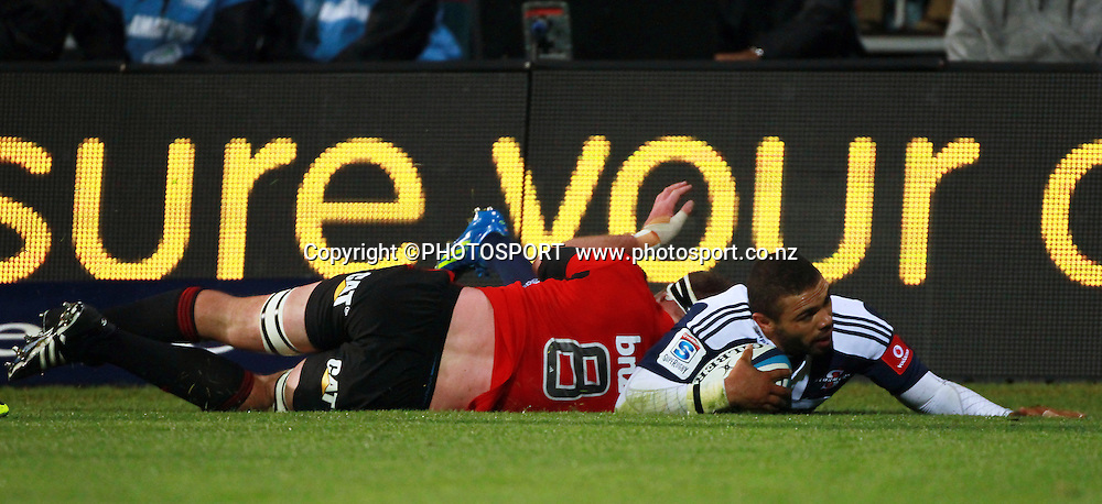 Bryan Habana scoring his second half try with Kieran Read tackling. Super Rugby game between the Crusaders and the Stormers. Crusaders new Christchurch Stadium at Rugby League Park, Saturday 14 April 2012. Photo : Joseph Johnson / photosport.co.nz