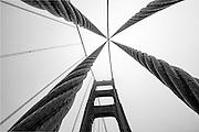 San Francisco's Historic Golden Gate Bridge Black and White Stock Photo
