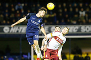 Southend's defender Ryan Leonard wins the ball in the air during the EFL Sky Bet League 1 match between Southend United and Bradford City at Roots Hall, Southend, England on 16 December 2017. Photo by Matt Bristow.