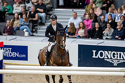 KÜHNER Max (AUT), Alfa Jordan<br /> Göteborg - Gothenburg Horse Show 2019 <br /> Gothenburg Trophy presented by VOLVO<br /> Int. jumping competition with jump-off (1.55 m)<br /> Longines FEI Jumping World Cup™ Final and FEI Dressage World Cup™ Final<br /> 06. April 2019<br /> © www.sportfotos-lafrentz.de/Stefan Lafrentz