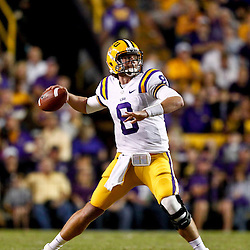November 10, 2012; Baton Rouge, LA, USA; LSU Tigers quarterback Zach Mettenberger (8) throws against the Mississippi State Bulldogs during the second quarter of a game at Tiger Stadium.  Mandatory Credit: Derick E. Hingle-US PRESSWIRE