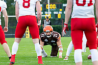 KELOWNA, BC - AUGUST 17:  Austin BOWES #71 of Okanagan Sun sizes up the Westshore Rebels  at the Apple Bowl on August 17, 2019 in Kelowna, Canada. (Photo by Marissa Baecker/Shoot the Breeze)