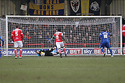Adebayo Akinfenwa penalty is saved during the Sky Bet League 2 match between AFC Wimbledon and Newport County at the Cherry Red Records Stadium, Kingston, England on 7 February 2015. Photo by Stuart Butcher.