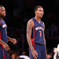 17 November 2013: Detroit Pistons point guard Brandon Jennings (7) is seen next to Detroit Pistons shooting guard Rodney Stuckey (3) during the Los Angeles Lakers 114-99 victory over the Detroit Pistons at the Staples Center, Los Angeles, California, USA.