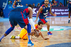 Alexis Ajinca #14 of France catches loose ball during semifinal basketball match between national team of Spain and France at Eurobasket 2013 on September 20, 2013 in SRC Stozice, Ljubljana, Slovenia. (Photo By Matic Klansek Velej / Sportida.com)
