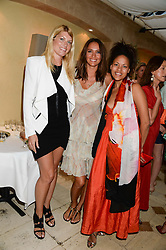 Left to right, MEREDITH OSTROM, RACHEL BARRETT and SASHA VOLKOVA at an evening of Dinner & Dancing at Daphne's, 112 Draycott Avenue, London SW3 on 24th July 2013.