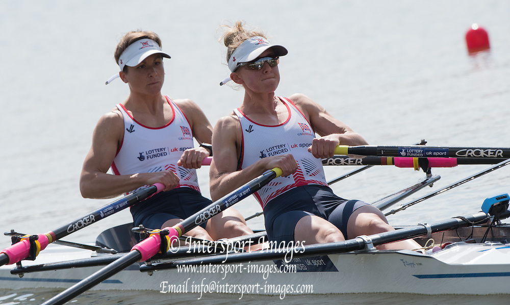 Poznan. Poland. GBR Lw@X, Bow Charlotte TAYLOR and Kat COPELAND, at the start. FISA 2015 European Rowing Championships. Venue Lake Malta. 29.05.2015. [Mandatory Credit: Peter Spurrier/Intersport-images.com]