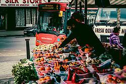Stall holder selling vegetables from a stall in the Bullring Market in Birmingham, England, UK<br /> <br /> (c) Andrew Wilson | Edinburgh Elite media