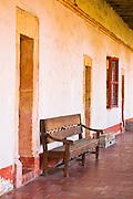 Doors and bench, Santa Barbara Mission (Queen of the missions), Santa Barbara, California
