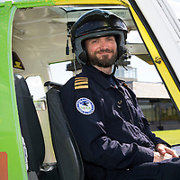 Pilot Clark Priestly with Helimed 76, a Bolkow 105 helicopter used by Scotland's Charity Air Ambulance (SCAA).<br /> Picture by Graeme Hart.<br /> Copyright Perthshire Picture Agency<br /> Tel: 01738 623350  Mobile: 07990 594431