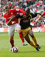 Photo: Steve Bond/Richard Lane Photography. <br />Nottingham Forest v Yeovil Town. Coca-Cola Football League One. 03/05/2008. Kris Commons (L) tangles with Terrell Forbes (R)