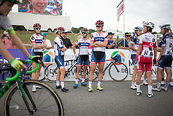 The Cervélo-Bigla Cycling Team waits for their turn to sign on before the start of the 121.5 km road race of the UCI Women's World Tour's 2016 Grand Prix Plouay women's road cycling race on August 27, 2016 in Plouay, France. (Photo by Balint Hamvas/Velofocus)