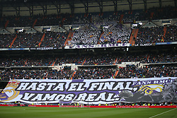 April 29, 2017 - Madrid, Spain - MADRID, SPAIN. APRIL 29th, 2017 - Real Madrid supporters. La Liga Santander matchday 35 game. Real Madrid defeated 2-1 Valencia with goals scored by Cristiano Ronaldo (26th minute) and Marcelo (86th minute). Parejo (82nd minute) scored for Valencia. Santiago Bernabeu Stadium. Photo by Antonio Pozo | PHOTO MEDIA EXPRESS (Credit Image: © Antonio Pozo/VW Pics via ZUMA Wire/ZUMAPRESS.com)