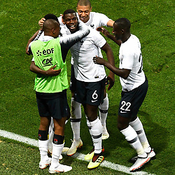 Ousmane Dembele of France celebrates his goal with teammates during the International Friendly match between France and Italy at Allianz Riviera Stadium on June 1, 2018 in Nice, France. (Photo by Pascal Della Zuana/Icon Sport)