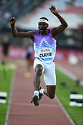 Will Claye (USA) places third in the triple jump at 56-2 (17.12m) during the 2017 Athletissima in an IAAF Diamond League meeting at Stade Olympique de la Pontaise in Lausanne, Switzerland on Thursday, July 6, 2017. (Jiro Mochizuki/IOS via AP Images)