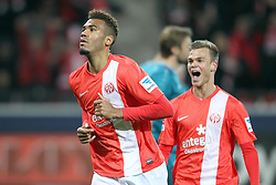 10.11.2013, Coface Arena, Mainz, GER, 1. FBL, 1. FSV Mainz 05 vs Eintracht Frankfurt, 12. Runde, im Bild Torjubel Mainz 05, links: Choupo-Moting, Eric Maxim (10) / FSV Mainz 05, rechts: Saller Benedikt (5) / FSV Mainz 05, // during the German Bundesliga 12th round match between 1. FSV Mainz 05 and Eintracht Frankfurt at the Coface Arena in Mainz, Germany on 2013/11/10. EXPA Pictures © 2013, PhotoCredit: EXPA/ Eibner-Pressefoto/ Kellner<br /> <br /> *****ATTENTION - OUT of GER*****