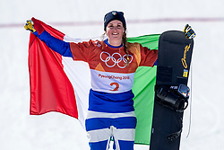PYEONGCHANG, SOUTH KOREA - FEBRUARY 16:  Michela Moioli of Italy celebrates winning the gold medal at the victory ceremony in the Ladies' Snowboard Cross on day seven of the PyeongChang 2018 Winter Olympic Games at Phoenix Snow Park on February 16, 2018 in Pyeongchang-gun, South Korea. Photo by Ronald Hoogendoorn / Sportida