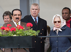 © Licensed to London News Pictures. 11/05/2018. Windsor, UK. King of Bahrain Hamad bin Isa Al Khalifa (L) stands with Prince Andrew and Queen Elizabeth II during the 75th Royal Windsor Horse Show. The five day event takes place in the grounds of Windsor Castle. Photo credit: Peter Macdiarmid/LNP