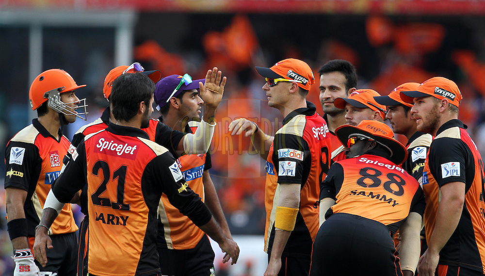 Sunrisers Hyderabad players celebrates the wicket of Yuvraj Singh of the Royal Challengers Bangalore during match 46 of the Pepsi Indian Premier League Season 2014 between the Sunrisers Hyderabad and the Royal Challengers Bangalore held at the Rajiv Gandhi Cricket Stadium, Hyderabad, India on the 20th May 2014<br /> <br /> Photo by Vipin Pawar / IPL / SPORTZPICS<br /> <br /> <br /> <br /> Image use subject to terms and conditions which can be found here:  http://sportzpics.photoshelter.com/gallery/Pepsi-IPL-Image-terms-and-conditions/G00004VW1IVJ.gB0/C0000TScjhBM6ikg