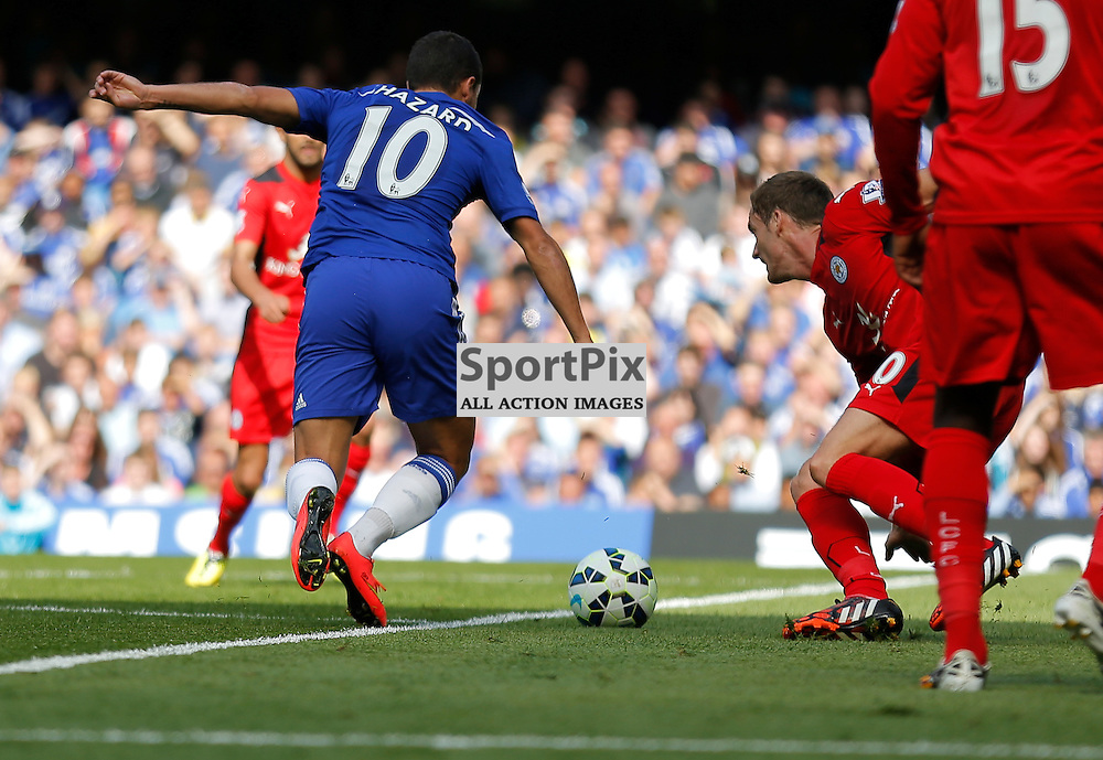 Eden Hazard takes it round Andy King | Chelsea v Leicester City - Stamford Bridge -  Barclays Premier League - 23/08/2014  | Andy Walter (c) Sportpix.org