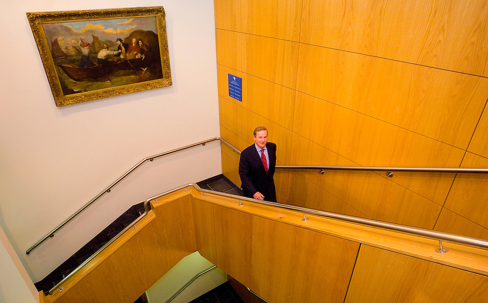 Enda Kenny T.D.  makes his way up the stairs to the County registrar to get his nomination put forward for election for the constituency of Mayo at Mayo County Courthouse, Castlebar. Pic: Michael Mc Laughlin
