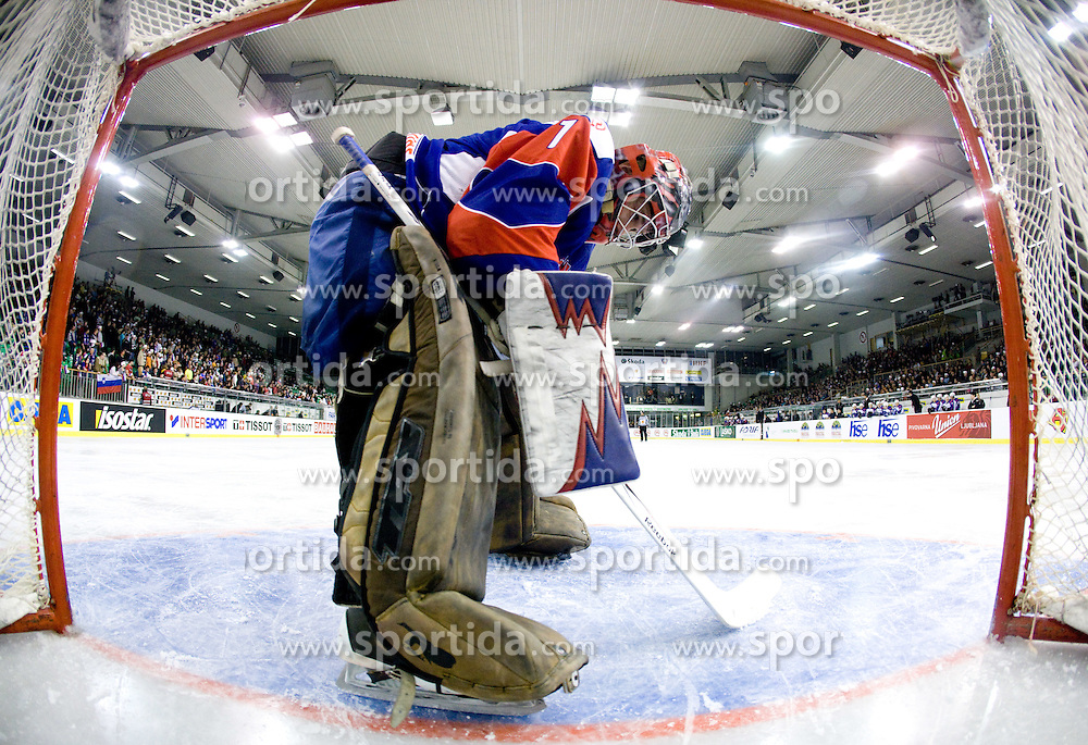 Goalkeeper of Slovenia HOCEVAR Andrej at Round 4 of IIHF Ice-hockey World Championships Division I Group B match between National teams of Slovenia and South Korea, on April 21, 2010, in Tivoli hall, Ljubljana, Slovenia.  (Photo by Vid Ponikvar / Sportida)