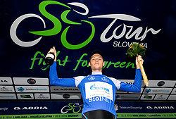 Overall mountain classification winner Aleksandr Vlasov (RUS) of Gazprom - Rusvelo celebrates during trophy ceremony after the 5th Stage of 26th Tour of Slovenia 2019 cycling race between Trebnje and Novo mesto (167,5 km), on June 23, 2019 in Slovenia. Photo by Vid Ponikvar / Sportida