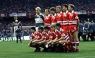 UEFA European Championship 1988<br /> 17.6.1988, Müngersdorferstadion, Cologne, West-Germany.<br /> Group 1, Italy v Denmark.<br /> Denmark line-up, standing from left: Peter Schmeichel, Per Frimann, Michael Laudrup, Lars Olsen, Bjørn Kristensen, John Eriksen.<br /> Kneeling: Jan Heintze, Ivan Nielsen, John Jensen, Morten Olsen, Flemming Povlsen.