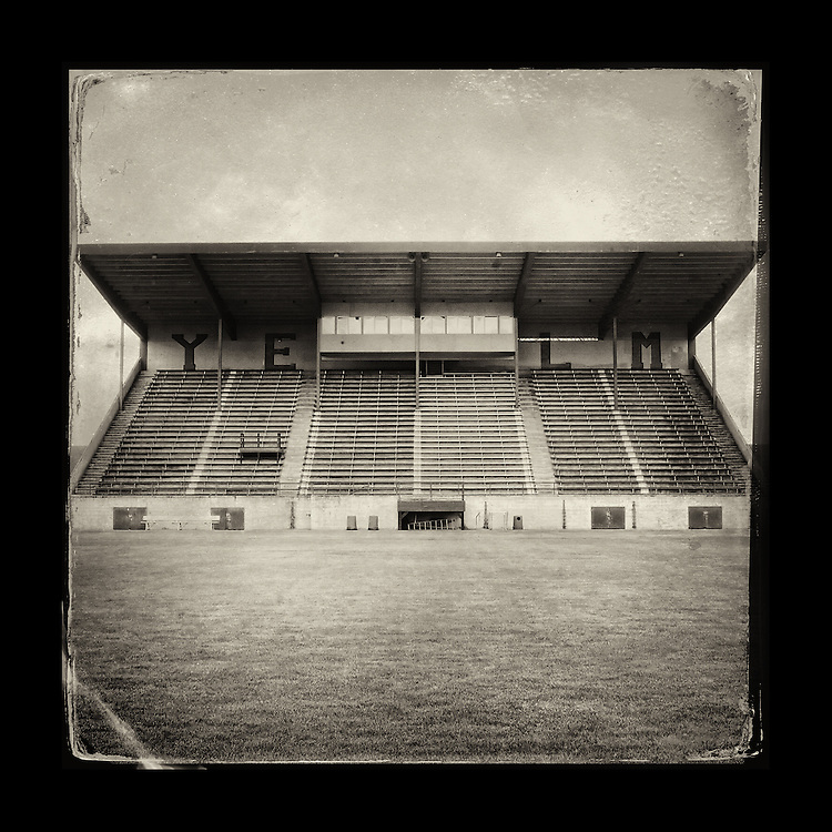 "Charles Blackburn image of the Yelm football stadium in Yelm, WA. 5x5"" print."