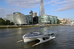 © Licensed to London News Pictures. 31/08/2013.  The world's largest solar powered boat MS Turanor PlanetSolar has arrived in London the latest leg of its world tour : Rob Powell/LNP