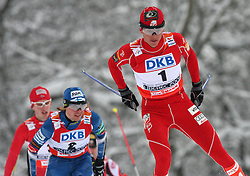Jand Schmid of Norway, Anssi Koivuranta of Finland and Second times world champion Todd Lodwick of USA  at Nordic Combined Individual Gundersen NH, 10 km, at FIS Nordic World Ski Championships Liberec 2008, on February 22, 2009, in Vestec, Liberec, Czech Republic. (Photo by Vid Ponikvar / Sportida)