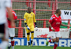 WREXHAM, WALES - Monday, May 7, 2012: Wrexham's goalkeeper Joslain Mayebi looks dejected after Luton Town score the opening goal from the penalty spot during the Football Conference Premier Division Promotion Play-Off 2nd Leg at the Racecourse Ground. (Pic by David Rawcliffe/Propaganda)