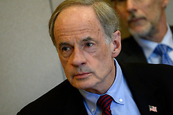Sen. Tom Carper, D-De, joined by Sen. Bob Casey, D-Pa and representatives from the community in a roundtable discussion on the per- and polyfuoroalkyl substances or PFAS pollution crisis in the region, at Horsham Township Library, in Horsham, PA, on April 8, 2019. The health crisis affects tens of thousands of residents in Bucks and Montgomery Counties in Eastern Pennsylvania.