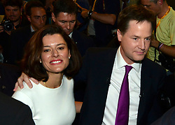 © Licensed to London News Pictures. 26/09/2012. Brighton, UK Deputy Prime Minister and leader of the Liberal Democrat Party, Nick Clegg, leaves with his wife Miriam Gonzalaz Durantez after delivering his keynote speech at the Liberal Democrat Conference at the Brighton Centre in Brighton today 25th September 2012. Photo credit : Stephen Simpson/LNP