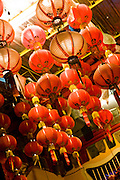 Paper lanterns at a Buddhist shrine.