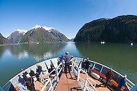 Bow of an adventure ship in Endicott Arm in Tracy Arm - Fords Terror Wilderness in Southeast, Alaska.