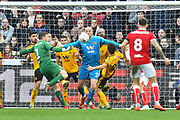 Goalkeeper Frank Fielding (1) of Bristol City goes up the field to help in the dying seconds during the The FA Cup 5th round match between Bristol City and Wolverhampton Wanderers at Ashton Gate, Bristol, England on 17 February 2019.