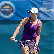 August 16, 2014, New Haven, CT:<br /> Caitlin Whoriskey hits a backhand during the 2014 US Open National Playoffs Women's final match against Michaela Gordon on day four of the 2014 Connecticut Open at the Yale University Tennis Center in New Haven, Connecticut Monday, August 18, 2014.<br /> (Photo by Billie Weiss/Connecticut Open)